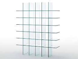open freestanding crystal bookcase glass shelves 1 1976 by glas italia