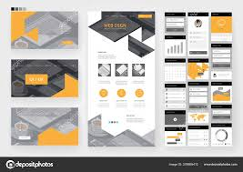 Office Stationery Design Templates Website Template One Page Design Headers Interface Elements