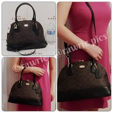 New Coach signature domed black brown Satchel