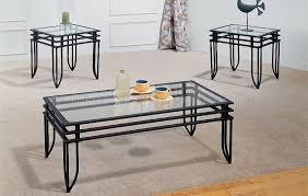 incredible glass coffee table set and black metal wclear glass design 3pc coffee table set