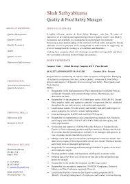 Cv Food Safety Complaince Manager Quality Assurance Rev