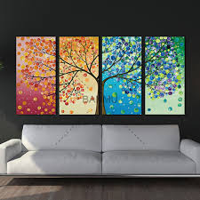 unframe wall art canvas painting decoration for living room picture colourful leaf trees wall art spray