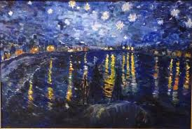 waterscape painting van goghs starry night over the rhone river by susan hanning