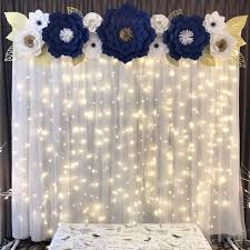 White Paper Flower Backdrop 2 Of 2 Navy Blue White And Gold Paper Flower Backdrop By