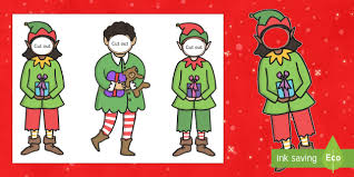 Cut Out Character Template Make Yourself An Elf Face And Body Template Elf Santa S