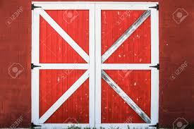 red and white barn doors. Red And White Barn Door. Traditional Door Background. Stock Photo Doors 123RF.com