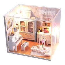 handmade dolls house furniture. Dollhouse Furniture Kits Handmade Wooden Miniature Girl Doll House Room Box Toy Kids Lighting Kit Dolls R