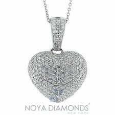 details about 3 00 carat f vs2 puffy heart shaped diamond pendant set in 18k white gold