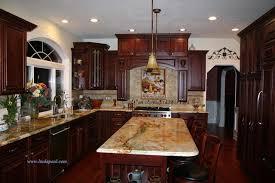kitchen backsplash cherry cabinets.  Cabinets Tuscan Kitchen Backsplash With Cherry Cabinets And Rare Granite Traditional Kitchen On Backsplash R