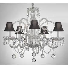 empress 5 light crystal chandelier with black shades and crystal