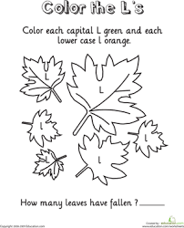 coloring page leaftastic the alphabet number names worksheets letter l coloring sheet ~ free printable on www education com worksheets