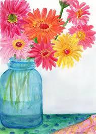 gerbera daisies in aqua canning jar watercolor painting original