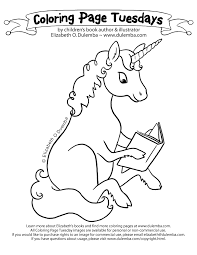 coloring page tuesday reading unicorn