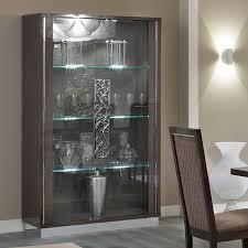 caligula platinum silver birch high gloss 2 door glass display cabinet