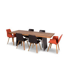 Kff Designer Leder Holz Esszimmer Garnitur Braun Orange 1x Esstisch
