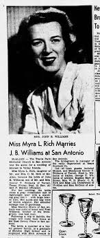 Myra Rich weds John Williams - Newspapers.com