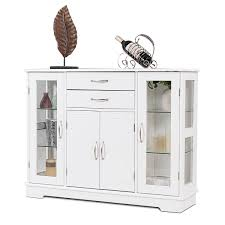 costway buffet storage cabinet console cupboard w glass door drawers kitchen dining room 0
