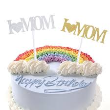 I Love Mom Cupcake Cake Topper Glitter Shimmer Birthday Mothers Day