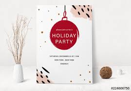 Holiday Event Invitation Layout With Ornament Illustration Buy This