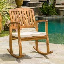 selma teak finish wood outdoor rocking chair
