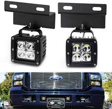 2005 Ford F350 Led Fog Lights Ijdmtoy Lower Grille Led Pod Light Fog Lamps Compatible With 2005 07 Ford F250 F350 F450 Excursion Includes 2 20w Cree Led Cubes Oem Foglamp