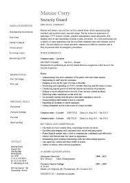 Security Guard Job Description Sample Resume