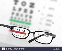 Blurry Eye Test Chart Looking Through Eye Glasses At An Blurred Eye Exam Chart On