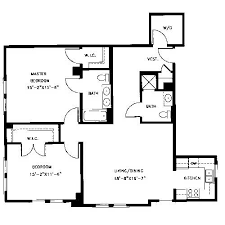 master bedroom with two walk in closet design. this 1,288-square-foot-apartment features two bedrooms and bathrooms. it has a large laundry room with washer/dryer, master bedroom walk-in walk in closet design t