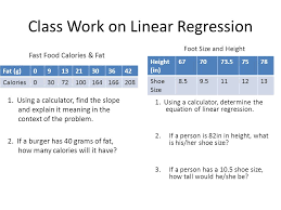 class work on linear regression
