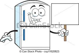 clean refrigerator clipart. cartoon refrigerator holding a sign - illustration. clean clipart g