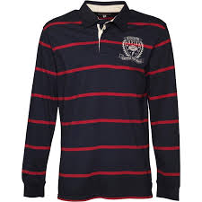 onfire mens striped rugby shirt navy red