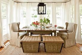 cream chairs white curtain modern farmhouse dining room black pendant lights brown rugs wide window um wood flooring