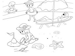 Kleurplaat Zon Zee Strand Spelen Op Strand Kleurplaat Kleurplatenlcom