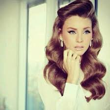 1950s style hair rolls pin up wavy long hair vine style beauty and fashion