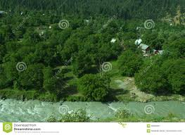 riverside village near srinagar in kashmir stock image image of scene houses