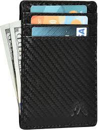Design We Wallets Neomonte Leather Wallets For Men Women Rfid Credit Card Slim Design Front Pocket Minimalist Wallet Black Carbon