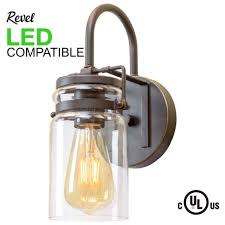 revel wyer 11 5 modern industrial clear jar glass wall sconce bronze finish