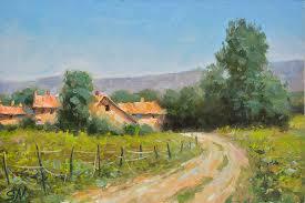 summer day tuscany countryside of italy italian landscape scene impressionist style