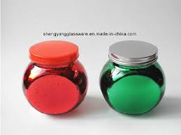 spray electroplate colors small glass e jar with metal lid