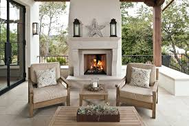 outdoor gas fireplace covered porch screened