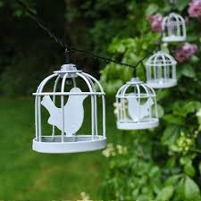 10 led solar white metal bird cage lantern string fairy light garden outdoor birdcage9 str full