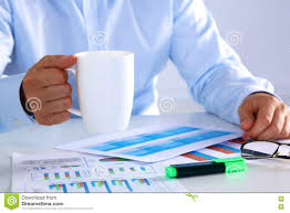 Office Tea Chart Businessman Drinking Tea At A Table In The Office Stock