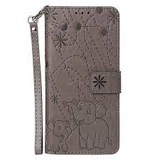 embossing fireworks elephant leather wallet case for motorola moto g7 power gray motorola moto g7 power cases guuds