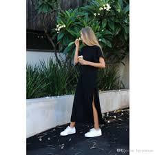summer beach tumblr. 2018 Casual Long T Shirts Dress Women Summer Beach Tumblr Bts Harajuku Kyliejenner Punk Baggy Tunic Loose Black Tops Mujer Plus Size From Hgerminate,