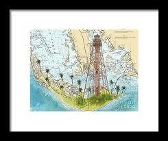 Sanibel Island Lighthouse Fl Nautical Chart Map Art Cathy Peek Framed Print