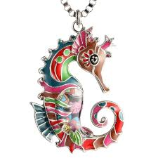 whole seahorse necklace for women unique birthday gifts enamel sea life jewelry mens pendant necklaces turquoise pendant necklace from zhengsu
