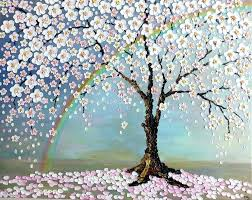 comfortable cherry blossom tree painting cherry blossom tree painting cherry blossom tree and rainbow by cherry