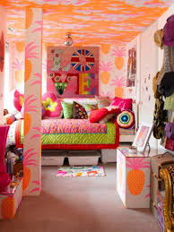 colorful teen bedroom design ideas. #Kids Room : Cool Tropical Girl Bedroom In A Mix Of Colors With Pineaple Wallpaper Colorful Teen Design Ideas