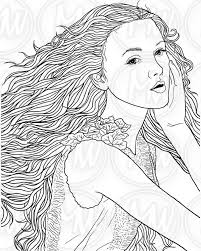 Women With Long Hair Adult Coloring Pages Womens Hairstyles