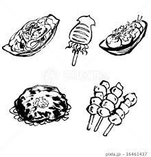 食べ物 お好み焼き たこ焼き 焼きそばのイラスト素材 Pixta